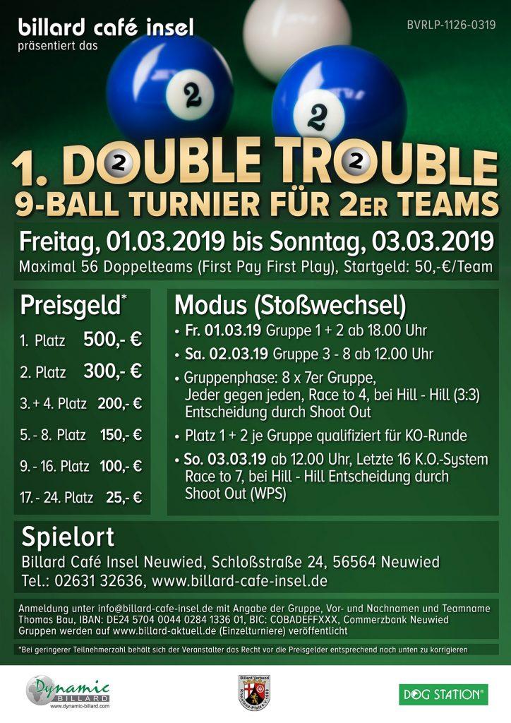 1. Double Trouble 9-Ball Turnier für 2er Teams im Billard im Billard Café Insel Neuwied
