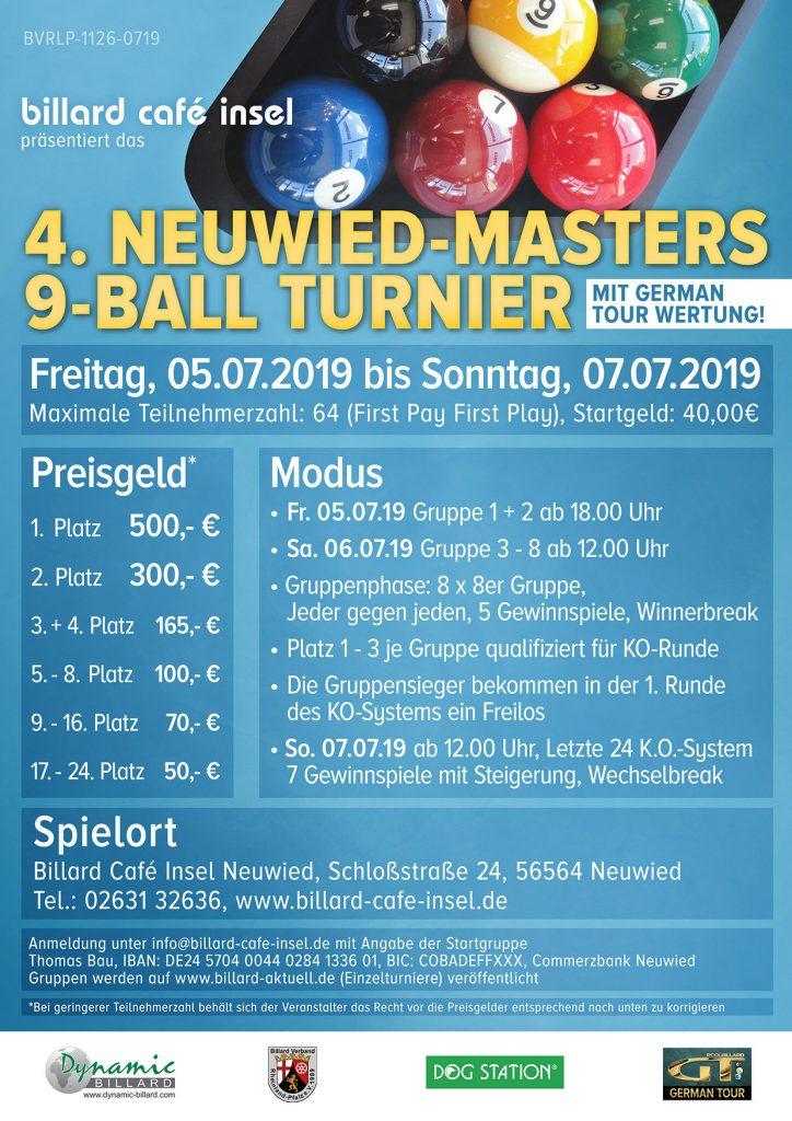 4. Neuwied-Master 9-Ball Turnier im Billard im Billard Café Insel Neuwied